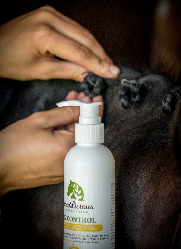EcoLicious Equestrian, Petra McGowan, equine skin sensitivities, equine skin allergies, Moisture Maniac, Tiber River Naturals, horse skin moisturizer, organic hemp oil for horses, sunflower oil for horses, organic GMO-free horse products, Squeaky Green & Clean Shampoo, horse's sensitive coat and skin, GMO free, In Control, Smeg-U-Later all-natural sheath cleaner, horse grooming, equine grooming