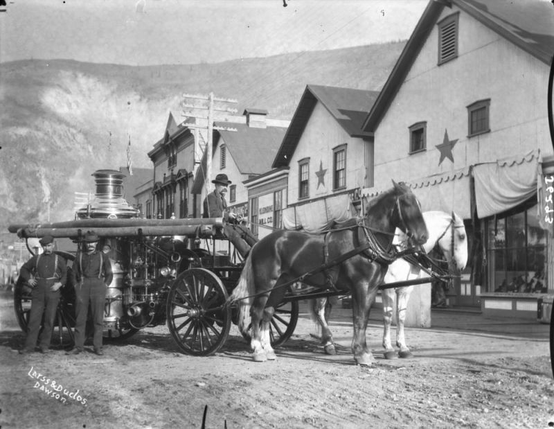 horses in canadian history, fire horses, horses used for fire trucks horse drawn fire engine