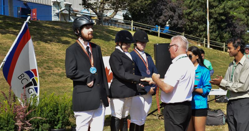 Para-equestrian medallists on Saturday, July 23, 2016 were (L to R) Tyler Woolley of Brentwood Bay (silver), Rachel Whitmore of Coquitlam (gold), and Danielle Benoit of Langley (bronze).