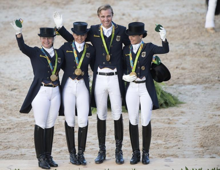 Germany Olympic Dressage Gold Olympic Equestrian Park Olympic Dressage Olympic Grand Prix Edward Gal Diederik van Silfhout Hans Peter Minderhoud Dorothee Schneider Steffen Peters Fiona Bigwood Laura Graves, USA