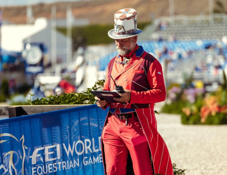 """Pedro Cebulka """"Pedro the Ringmaster"""" Spruce Meadows and Chairman of the Calgary-based ATCO Group Masters Tournament British course-designer Pam Carruthers, canada's best show jumping course designers, pedro cebulka costumes"""
