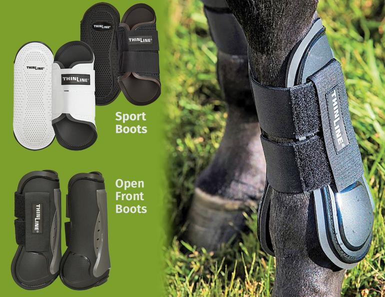 thinline sportboots, equine sportboots with open front, flexible filly horse boots